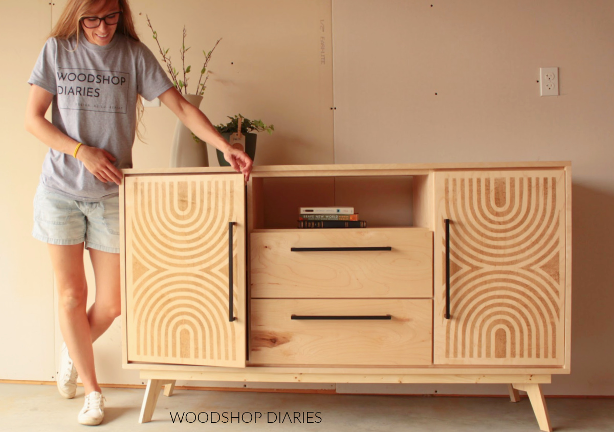 Shara Woodshop Diaries showing off natural and stained stenciled mid century design doors on DIy modern console