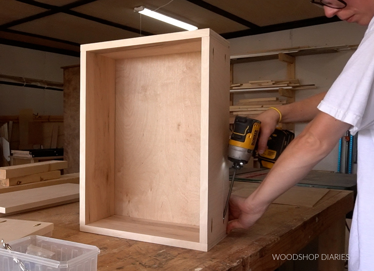 Shara Woodshop Diaries assembling plywood drawer box on workbench