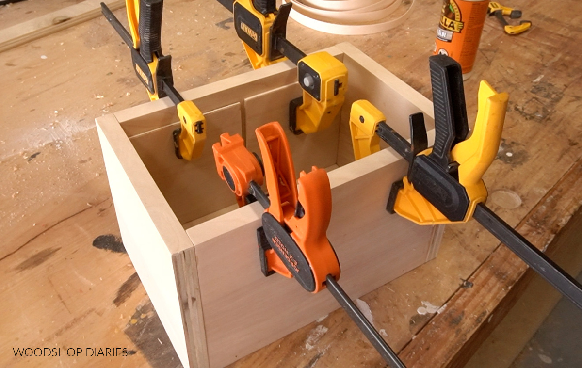 Divider liner pieces glued into scrap wood keepsake box