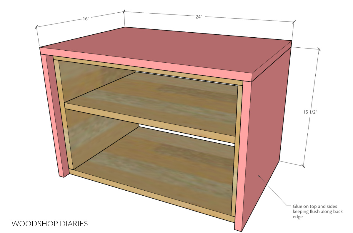 Side and top panels attached to inside box--diagram showing dimensions of outside box pieces attached