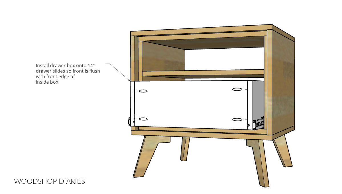 Diagram showing drawer box installed into nightstand