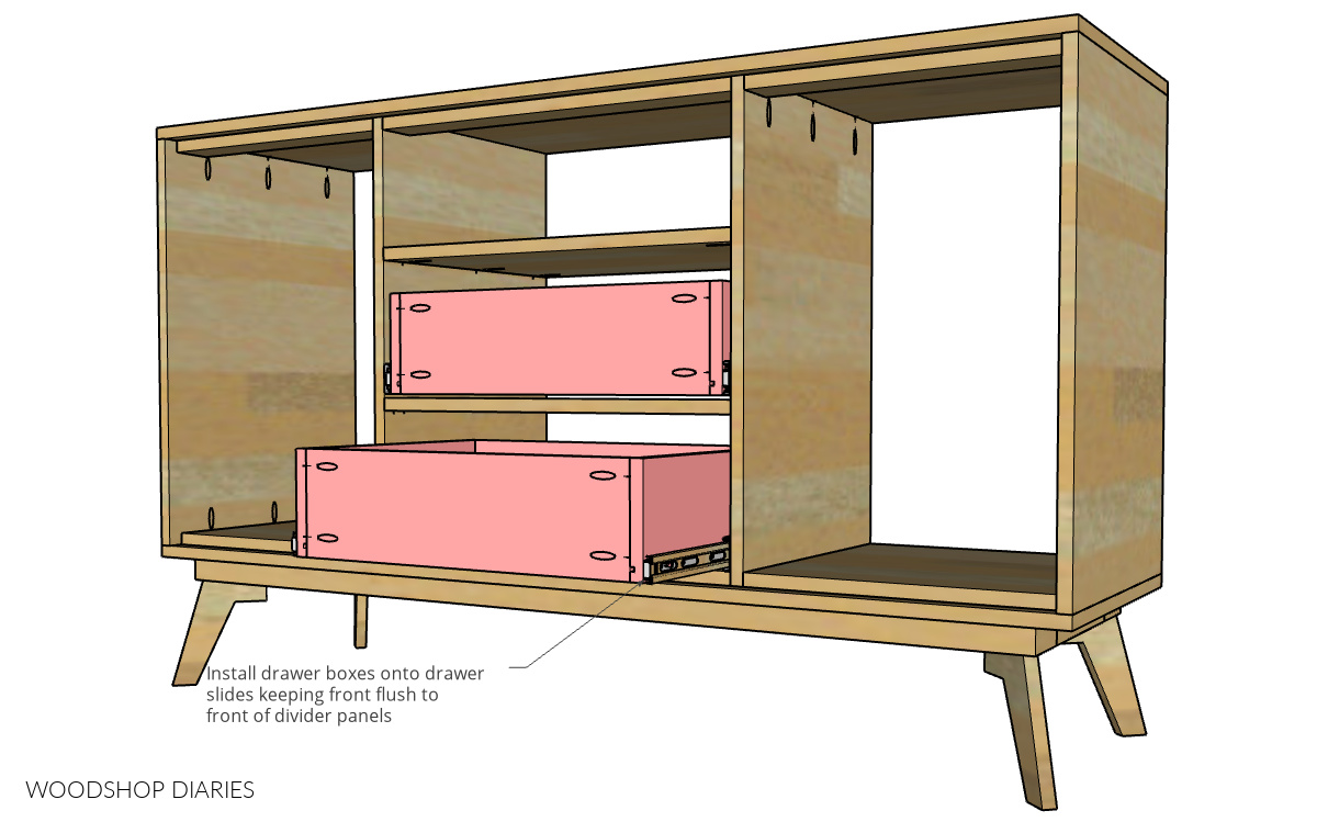 Diagram showing drawers installed into dresser console