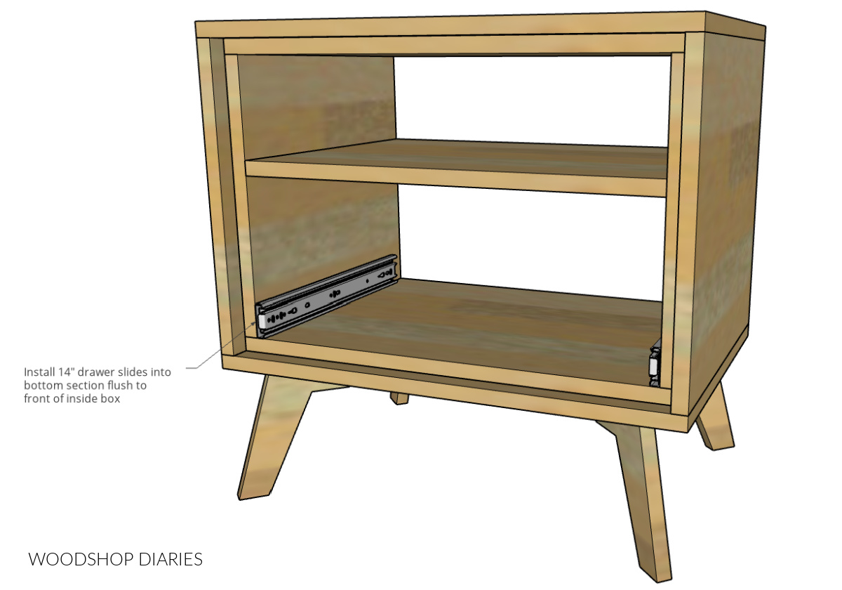 Diagram showing drawer slides installed into bottom cubby of nightstand flush to the front edge of inside box