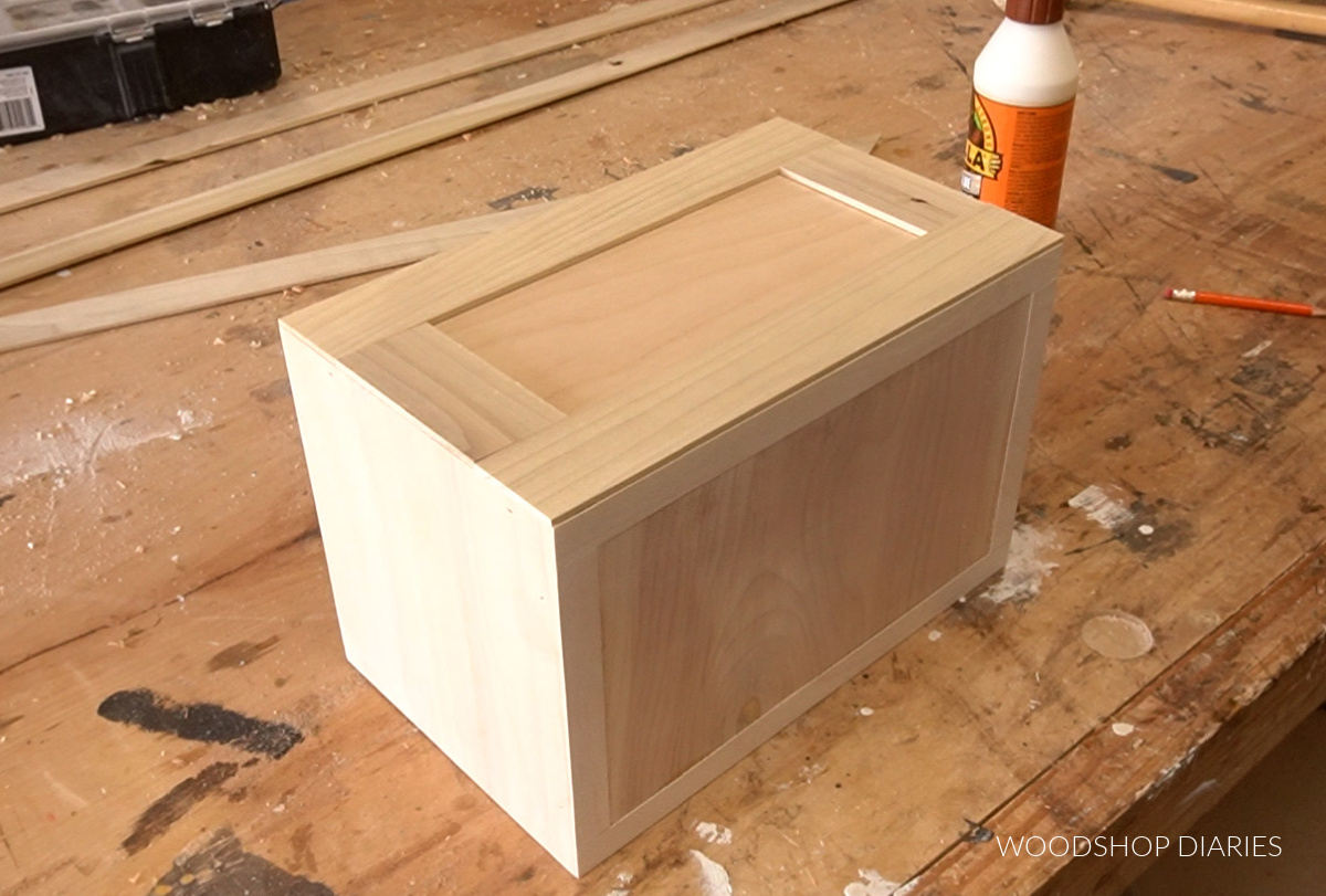 Lattice trim cut to fit to frame out front and back of keepsake box