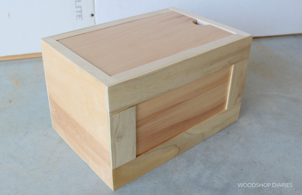 Simple plywood box with lift out lid sat in place