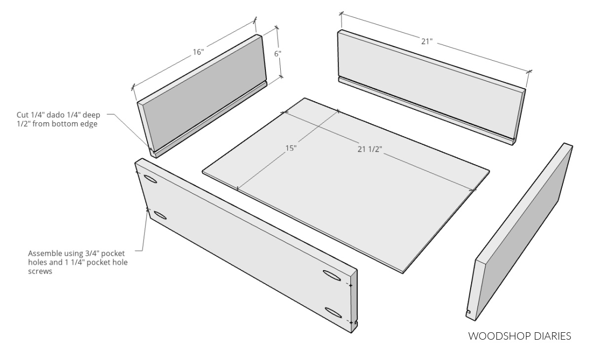 exploded view of drawer boxes for dresser console cabinet