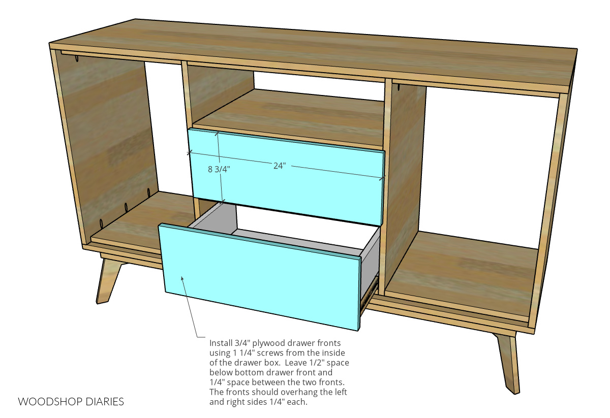 Drawer front dimensional diagram showing installed onto drawer boxes