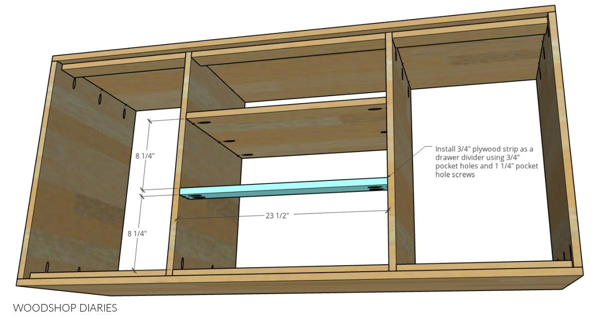 Drawer divider diagram showing installed using pocket holes and screws