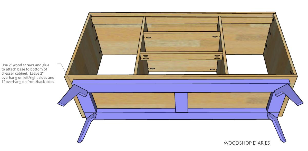 Diagram showing installing dresser base onto bottom of dresser console cabinet