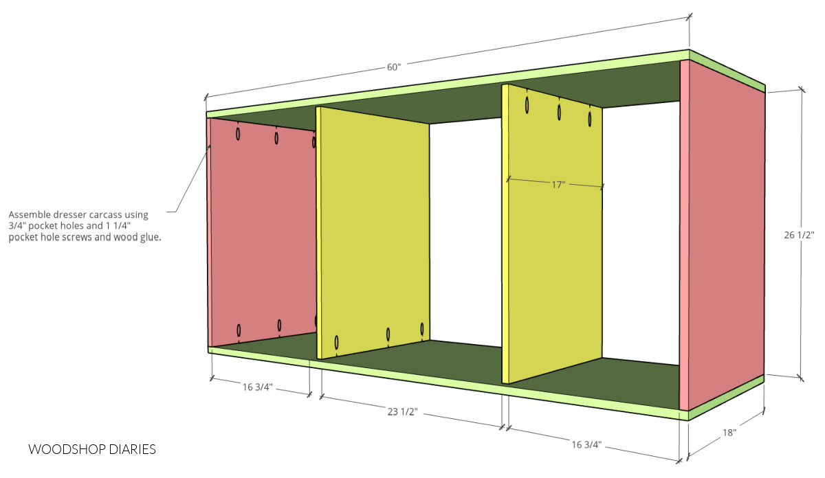 Main carcass assembly diagram of DIY mid century dresser console body