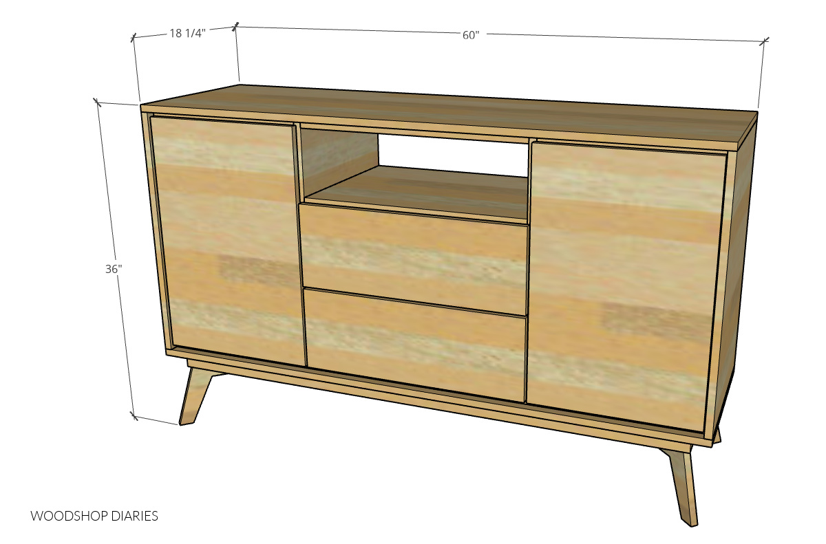 Overall dimensions of modern dresser console diagram