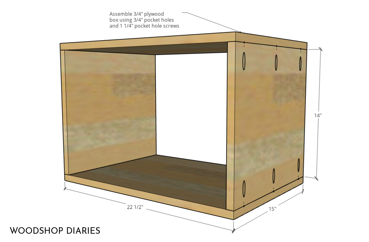 Dimensional diagram showing inside box piece dimensions for mid century modern nightstand assembled with pocket holes