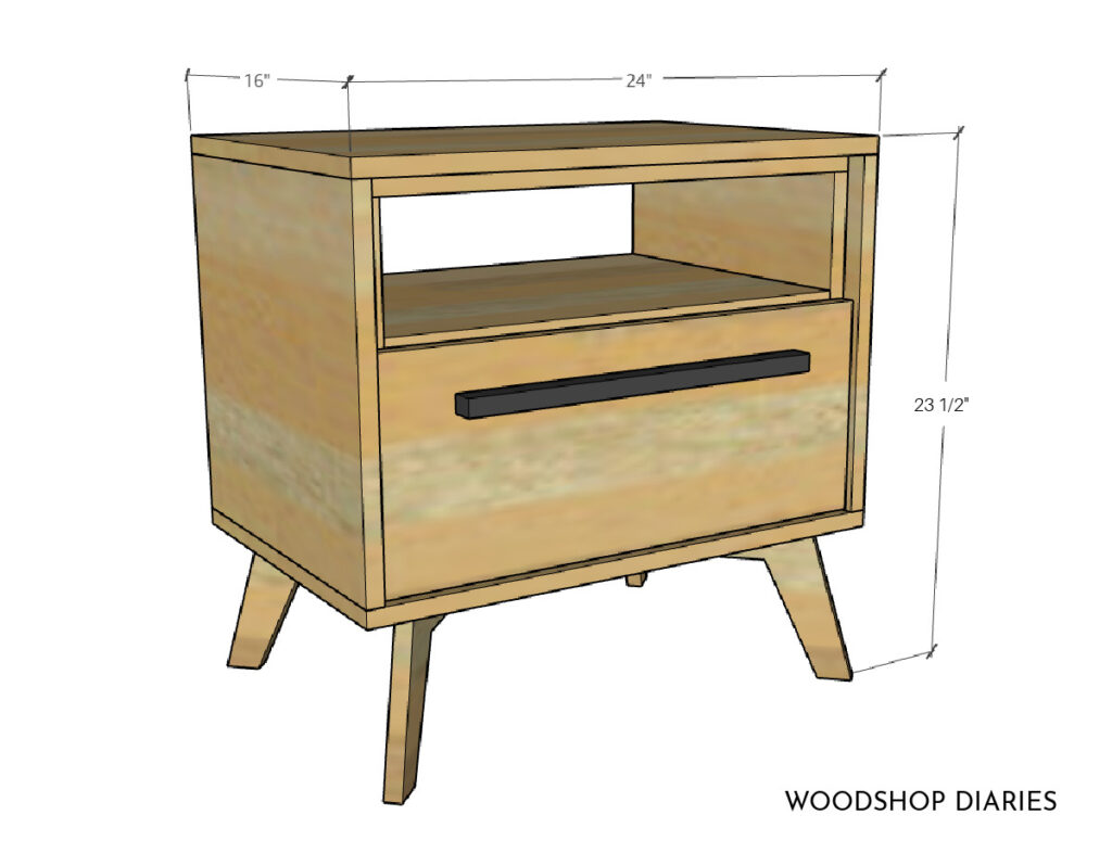 """Overall dimensional diagram of mid century modern nightstand--16"""" deep, 24"""" wide, 23 ½"""" tall"""