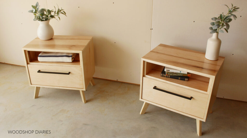 Pair of maple plywood mid century modern nightstands with open shelf at top and large drawer on bottom