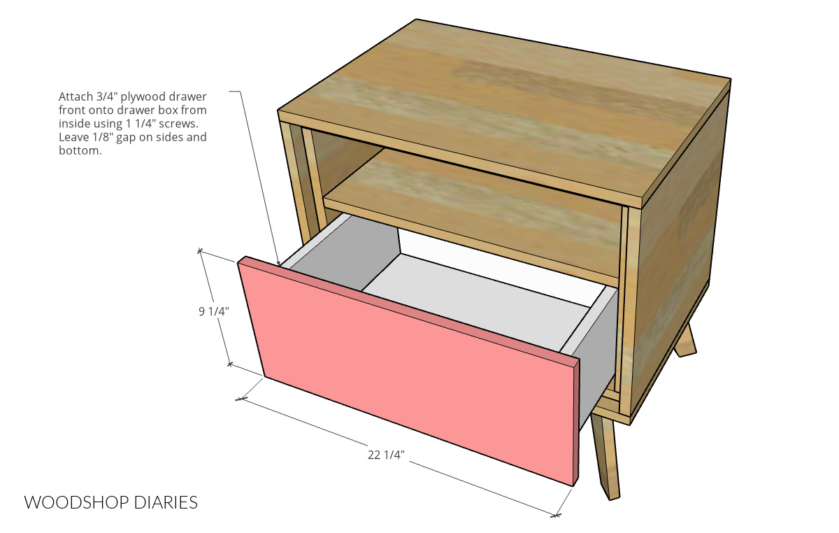 Diagram showing drawer front installed on drawer box in mid century modern nightstand