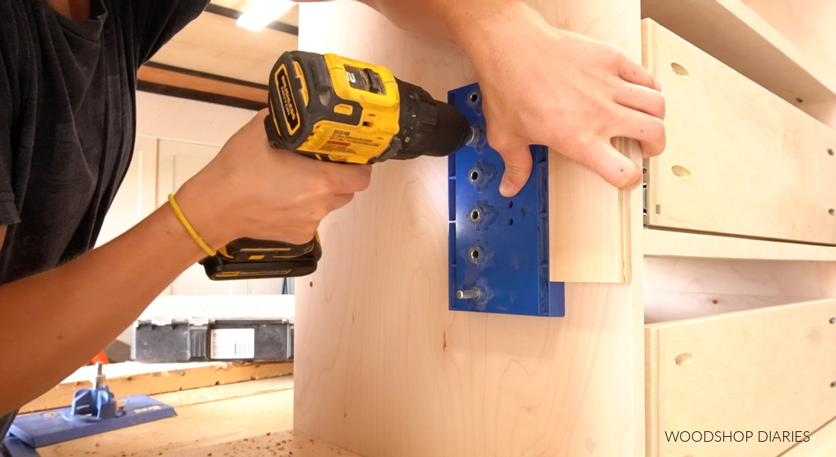 Using shelf pin jig to drill shelf pin holes into cabinets for adjustable shelves