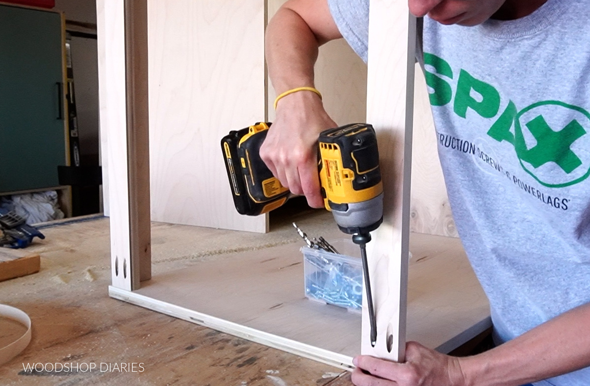 Shara Woodshop Diaries using pocket hole screws to attach top support strips