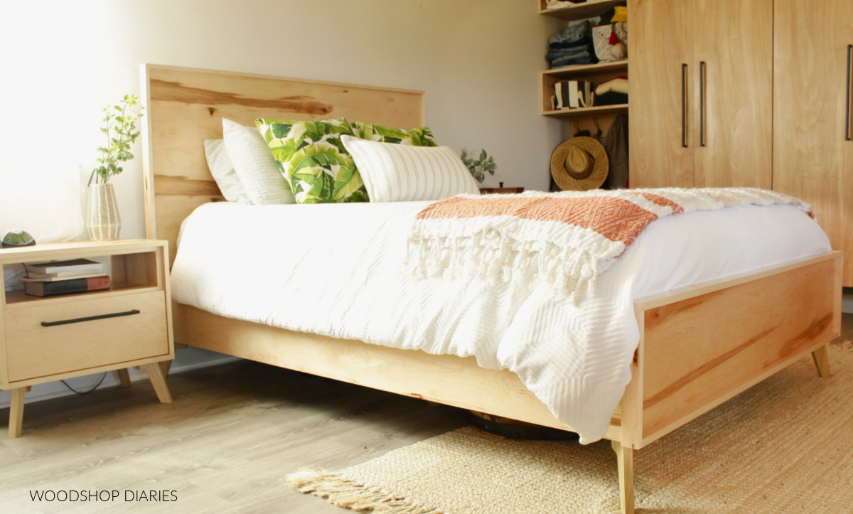 DIY Mid Century Modern Bed Frame with matching nightstands