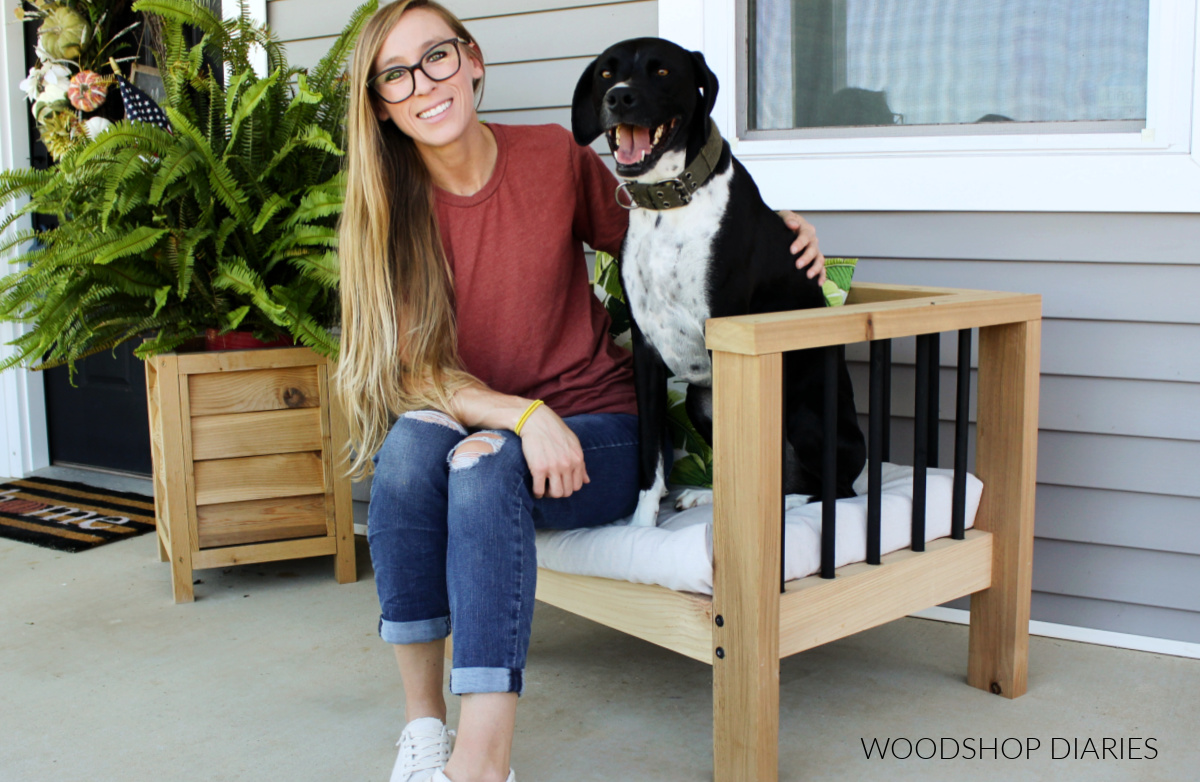 Shara Woodshop Diaries and Lucy sitting in modern outdoor chair on front porch