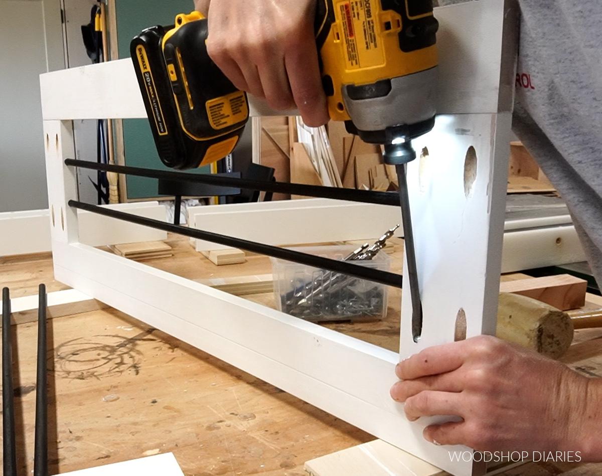 Assemble rail panel using pocket hole screws