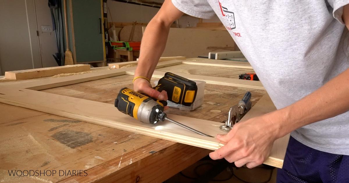 Assemble headboard frame using pocket holes
