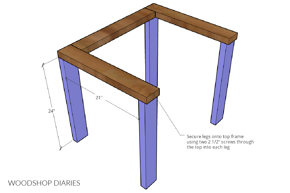 Diagram showing legs installed onto top chair frame
