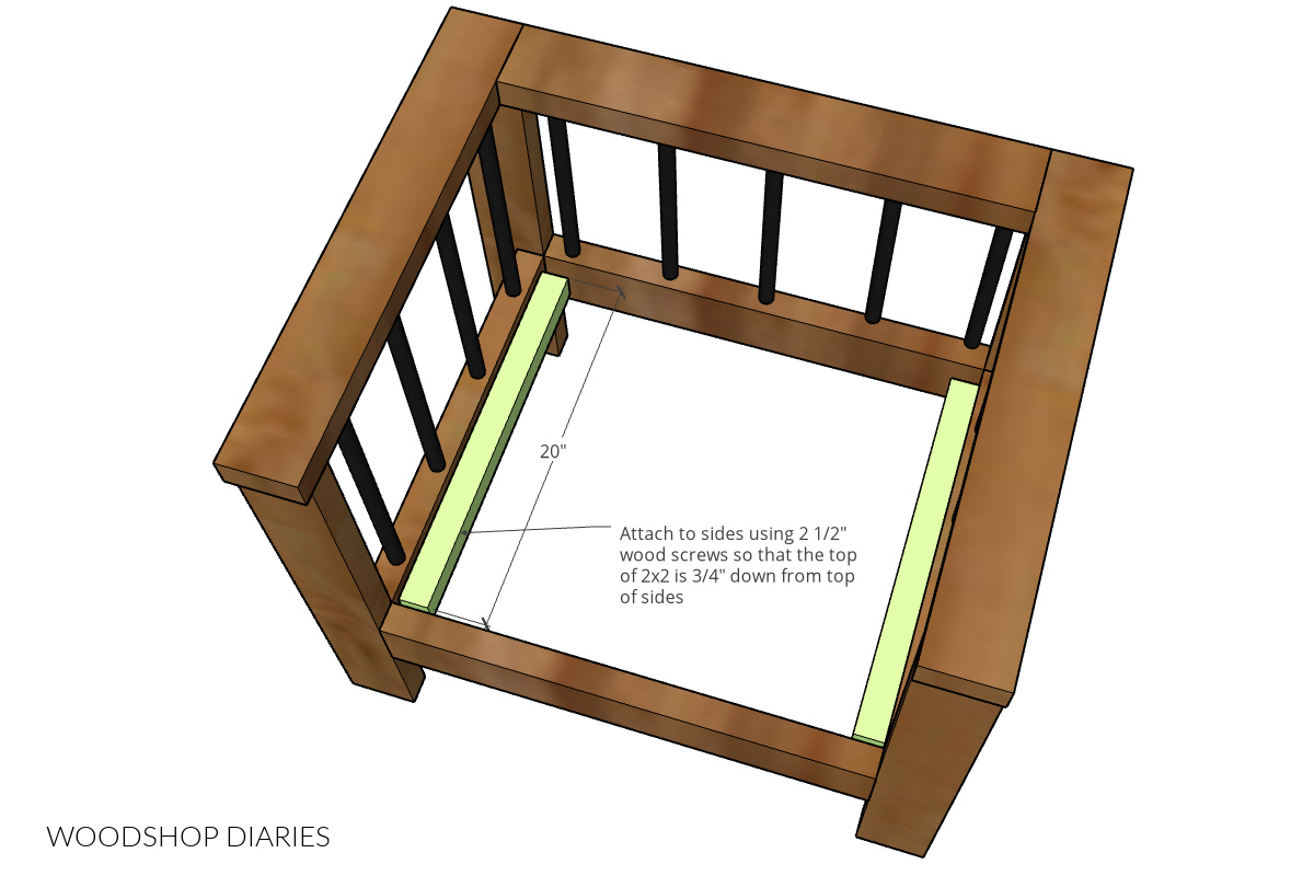DIY outdoor chair diagram showing installation of seat slat supports screwed into seat side frames