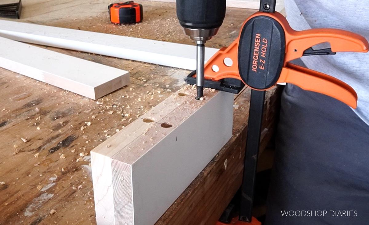 Drilling dowel holes for rails in door panels