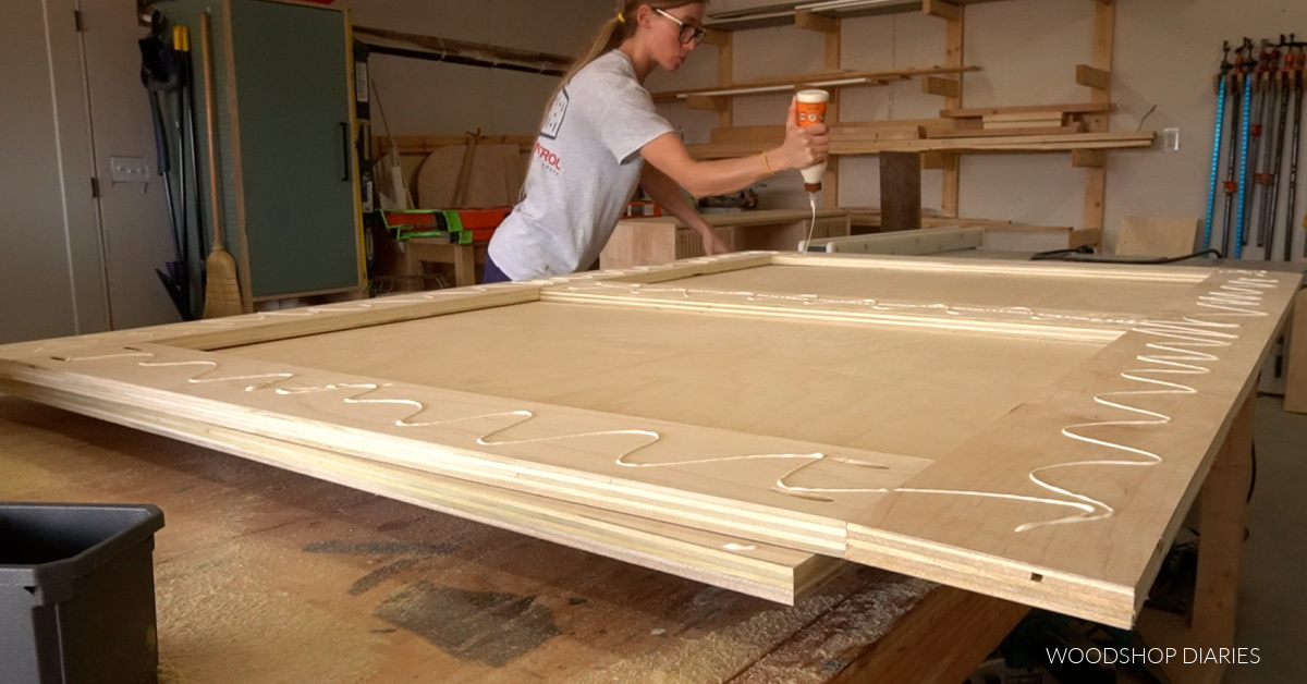 Apply glue to headboard frame