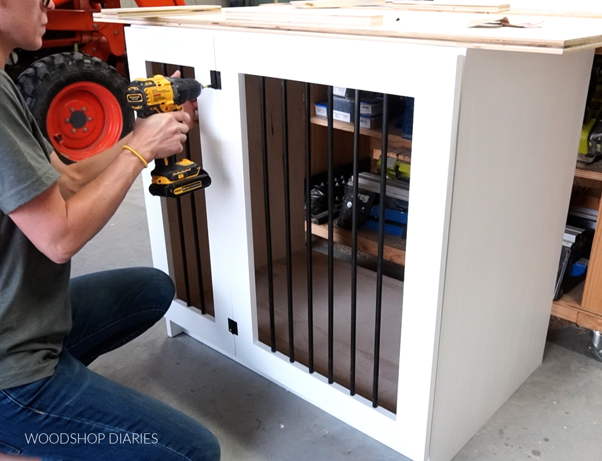 Attaching door frame with butt hinges onto dog crate cabinet