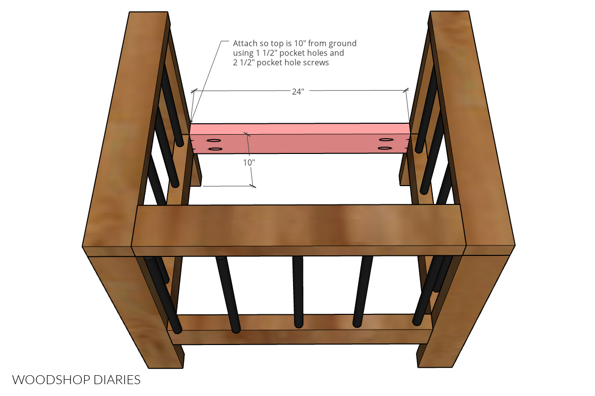Diagram showing installation of front seat frame piece into DIY outdoor chair