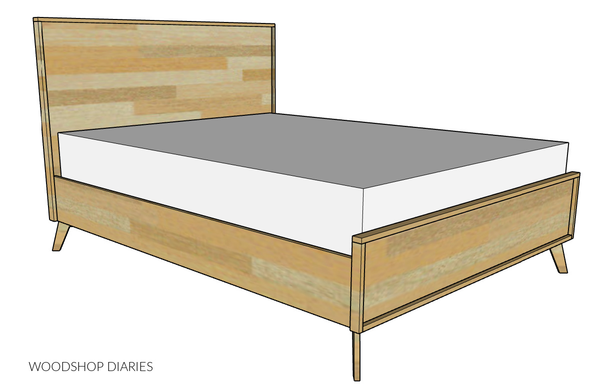 Diagram of mid century modern bed
