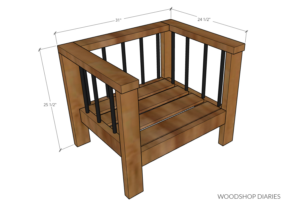 """Overall DIY outdoor chair dimensional diagram--31"""" wide, 24 ½"""" deep, 25 ½"""" tall"""