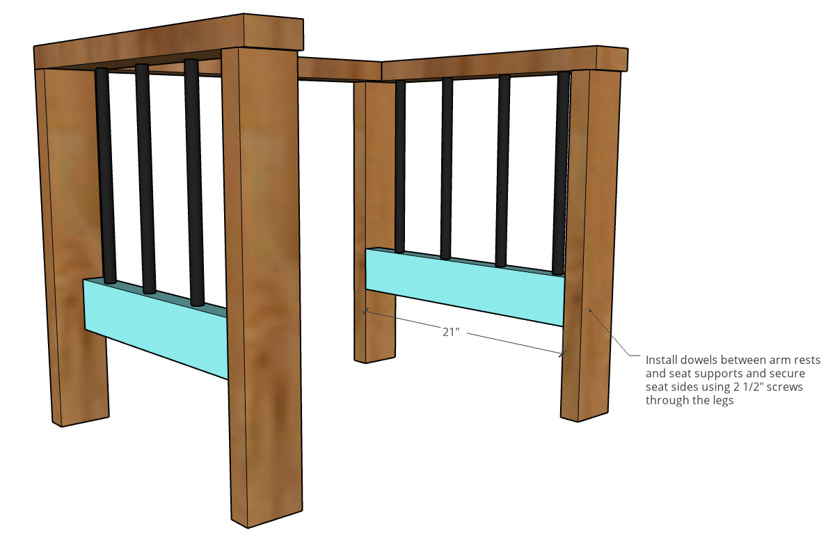 Diagram showing seat side frame pieces attached between chair legs
