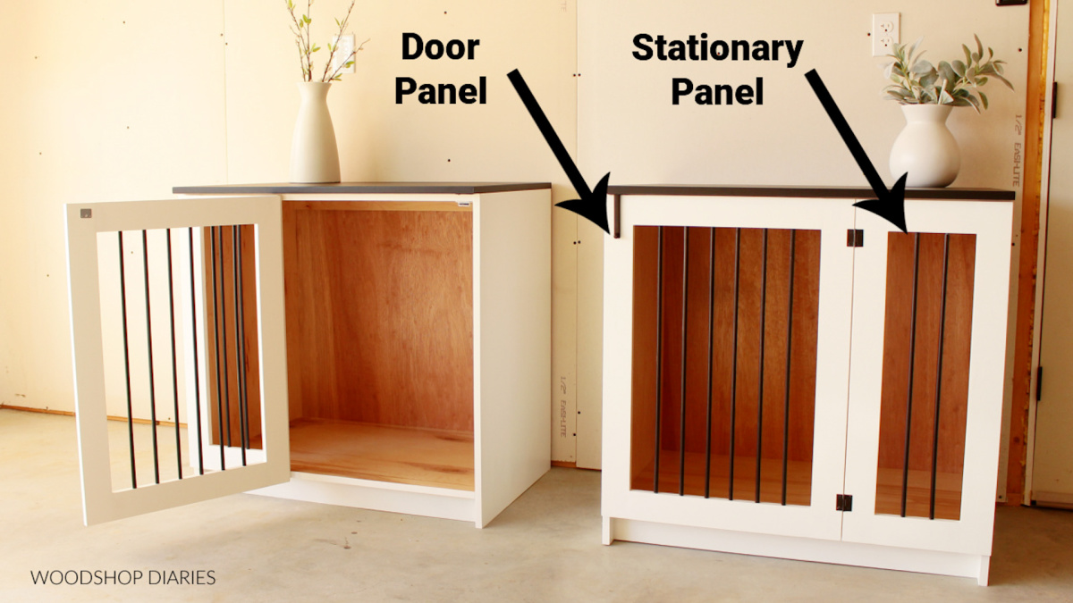 Finished Wooden dog crate cabinets showing stationary face frame panel vs mobile door panel on front