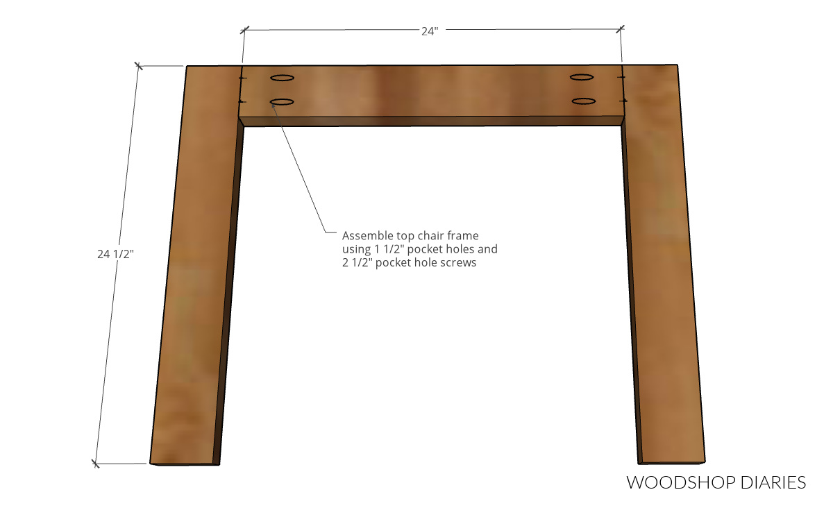 Diagram showing the U shape top frame assembly of outdoor chair