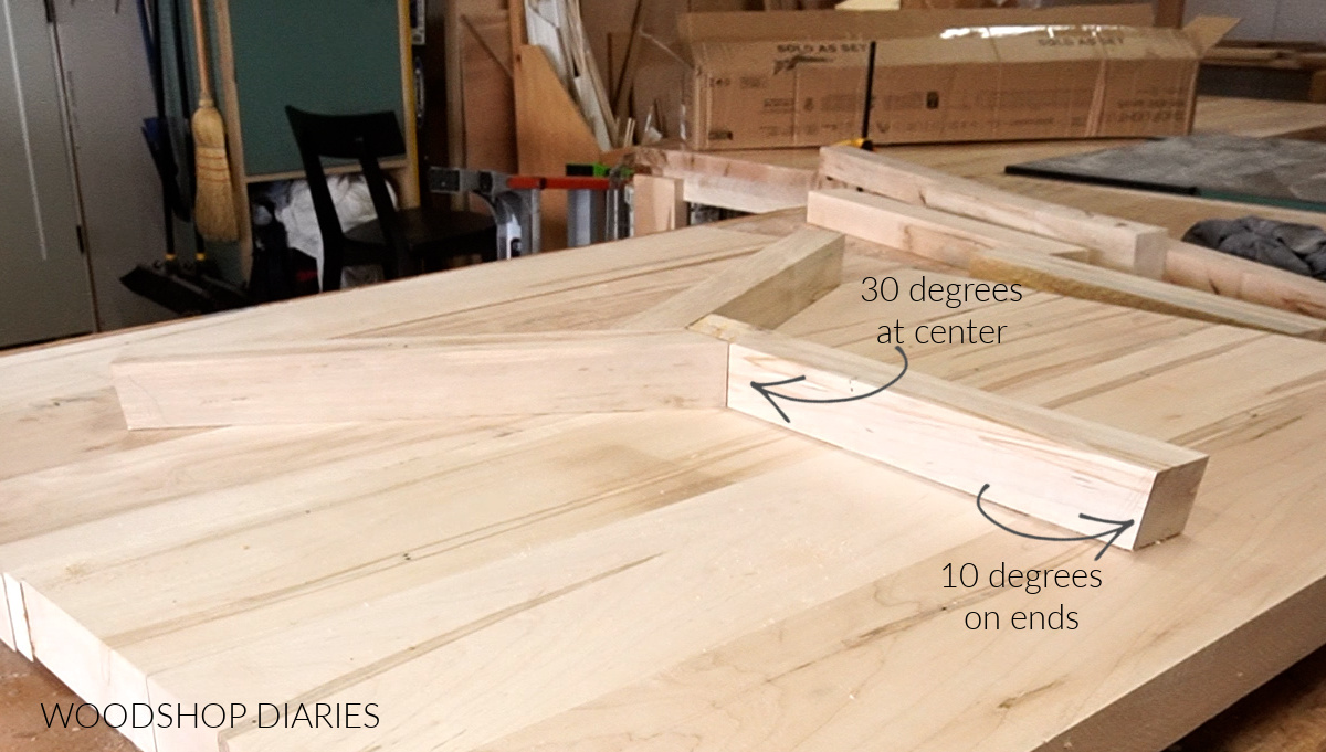 center coffee table braces laid out showing mitered ends orientation