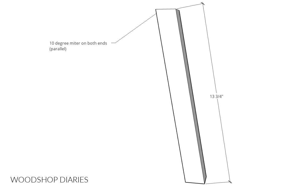 """Diagram of coffee table leg length--showing 10 degree miters and 13 ¾"""" length"""