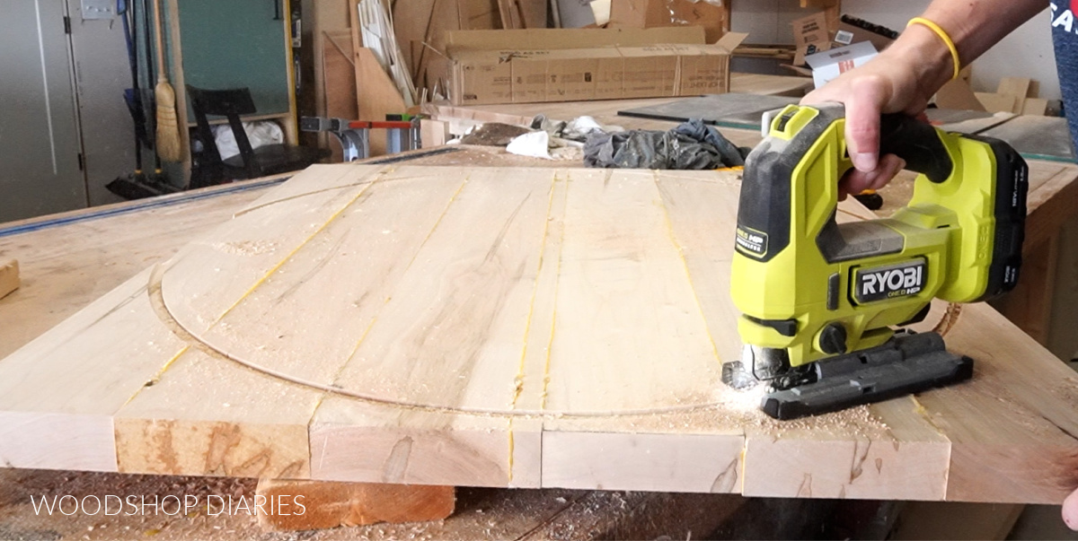 Using jig saw to cut round table top