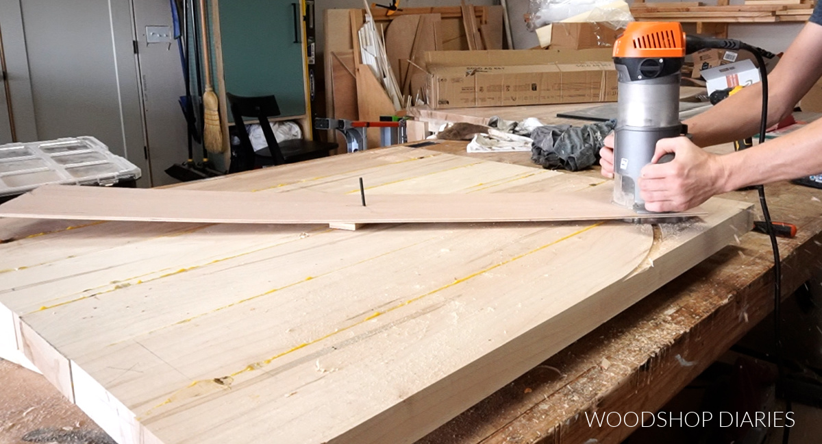 Using router and homemade circle jig to cut round coffee table top